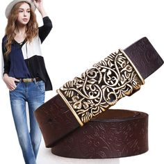 2016 Genuine Cowskin Leather Belts For Women Carved Design Retro Metal Women Strap Cintos Ceinture Female High Quality Belts  #fashion #stylish #beauty #styles #hair #purse #style #beautiful #makeup #model #outfit #outfitoftheday #jewelry #cute #jennifiers
