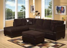 Connell Chocolate Corduroy Espresso PU Sectional Sofa Set Acme 55975
