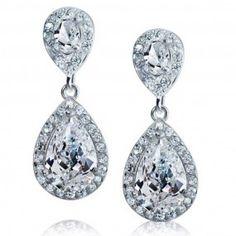 Bling Jewelry Pave CZ Teardrop Dangle Earrings Silver Tone
