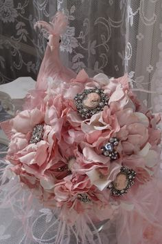 Pink Cameo Brooch Bouquet