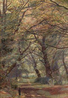 A path through a wooded landscape, Newton Bennett. (1854 - 1914)
