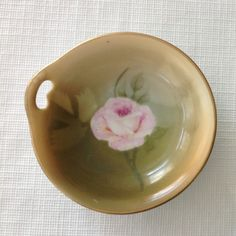 Bavaria Brown with Hand Painted Rose, One Handled Butter Pats