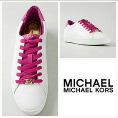 Michael Kors Irving sneaker White and fuschia pink leather and snakeskin 'Irving' sneakers from Michael Michael Kors. Leather upper Rubber outsole Size 10 Brand New, never worn Michael Kors Shoes