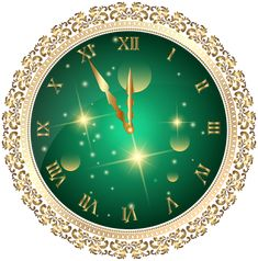 Green New Year's Clock PNG Transparent Clip Art Image