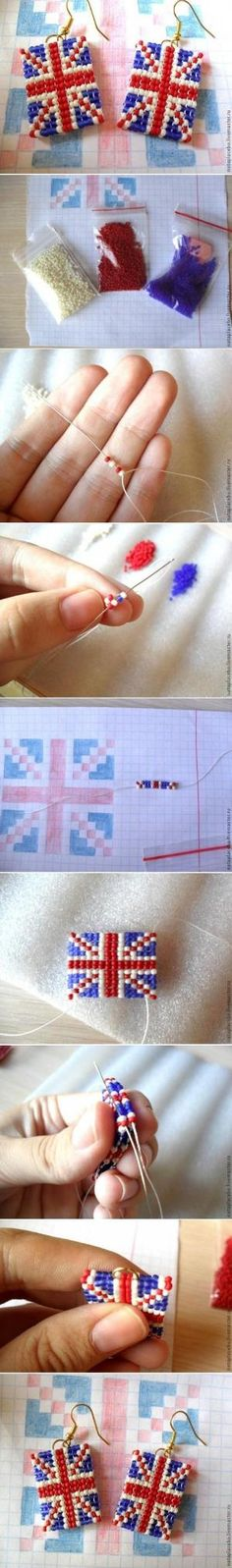 How to make beads or Pearls Earrings Union Jack step by step DIY tutorial instructions, How to, how to do, diy instructions, crafts, do it y by Mary Smith fSesz