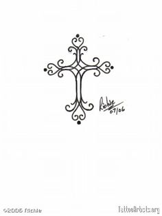 cross tattoo. Not that I'm a cross fan but this one is adorable