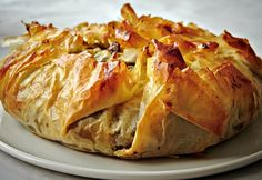 A Moroccan dish of shredded chicken and spices cooked inside phyllo dough makes for an impressive and delicious starter. Phyllo Dough Recipes, Pastry Recipes, Cooking Recipes, Diabetic Recipes, Vegetarian Recipes, Healthy Recipes, Morrocan Food, Moroccan Dishes, Moroccan Recipes