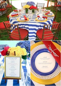 cute nautical inspired decor.......... really really liking the bright red & yellow paired with white and blue stripes!!