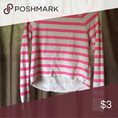 Aeropostale Crop Top Pink and white striped long sleeve Aeropostale high low crop top Aeropostale Tops Crop Tops
