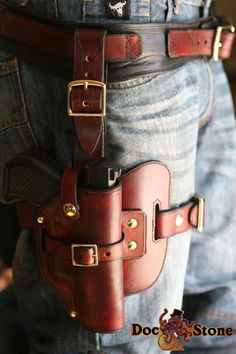 1911 Leather Holster, 1911 Holster, Custom Leather Holsters, Pistol Holster, Drop Leg Holster, Rifle Rack, Leather Working Patterns, Cool Gear, Leather Projects