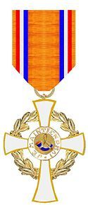 """The Order of the Crown (Kroonorde).  The order came into being as a result of Queen Juliana's reorganization of The House Order of Orange in 1969. As a house order it is not subject to ministerial responsibility or influence, but is awarded at the discretion of the Dutch monarch alone. The Order of the Crown is intended for """"foreigners who have rendered special service to the Dutch King or his House"""". Motto: JE MAINTIENDRAI"""