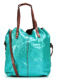 Lavata Tote Leather turquoise 45 cm