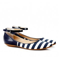 Sole Society Nautical - Pointed toe flats - Kirby in marine white || these are so stinking cute that I can hardly take it!!