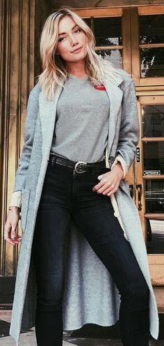 #winter #fashion /  Grey Coat + Grey Top