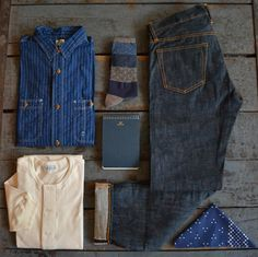 Journal Standard - Work Shirt Kaptial - Socks Postalco - Noteboook The Real McCoys - Joe McCoy Lot 991 Jeans Merz B. Schwanen - Short Sleeve...