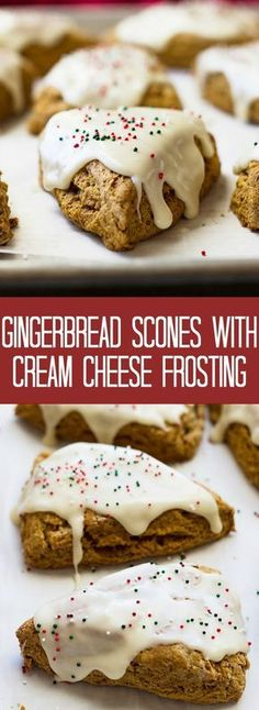 These Gingerbread Scones with Cream Cheese Frosting are like a gingerbread cookie only in breakfast form! These Gingerbread Scones with Cream Cheese Frosting are like a gingerbread cookie only in breakfast form! Holiday Baking, Christmas Desserts, Christmas Baking, Italian Christmas, Just Desserts, Delicious Desserts, Yummy Food, Cold Desserts, Desserts Diy