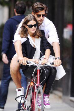Olivia Palermo Photo - Olivia Palermo and Johannes Huebl Bike in Soho