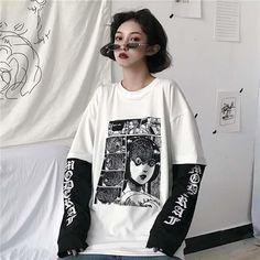 NiceMix Harajuku T-shirt Women Fake 2 Pieces Print Japanese Fujiang Horror Comics Long Sleeve Shirt Women Vetement Femme 2019 - White XXL Edgy Outfits, Mode Outfits, Grunge Outfits, Girl Outfits, Anime Fashion, Egirl Fashion, Fashion Outfits, Aesthetic Grunge Outfit, Aesthetic Fashion