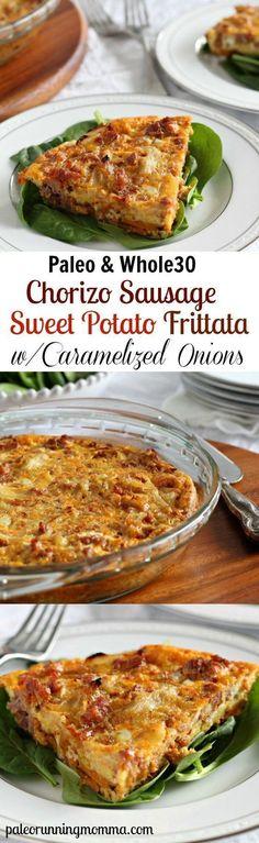 Paleo/Whole30 Chorizo Sausage Sweet Potato Frittata with Caramelized Onions - This dairy free frittata looks like a winning recipe!