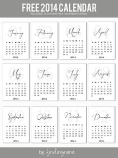 2014 Monthly Calendar Cards #projectlife