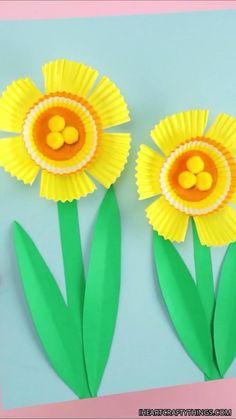 Flower Crafts Kids, Bunny Crafts, Toddler Crafts, Easter Crafts, Paper Flowers For Kids, Spring Art Projects, Spring Crafts For Kids, Diy Crafts For Kids, Spring Activities
