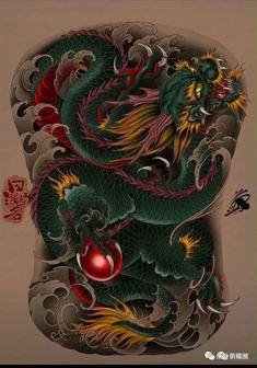 Dragon Tattoo Outline, Dragon Tattoo Colour, Colour Tattoo, Snake Tattoo, Buddha Tattoos, Japanese Dragon Tattoos, Traditional Japanese Tattoos, Japanese Tattoo Designs, Dragon Art