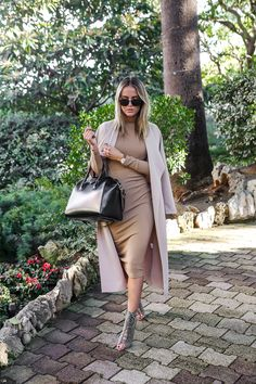 Tan Coat / Camel Midi Dress / Givenchy Bag / Khaki Lace Up Heels http://FashionCognoscente.blogspot.com