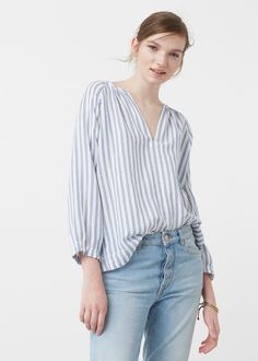 Gestreifte baumwollbluse - Blusen für Damen | MANGO Deutschland