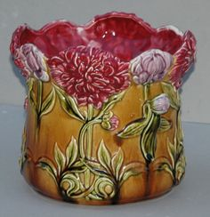 French Majolica Floral Jardinière by Onnaing
