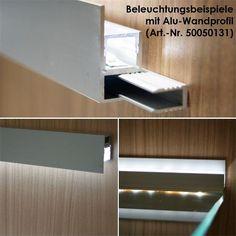 Aluminium-Wand-Glasbodenprofil für LED-Stripes im LED Onlineshop www. Cove Lighting, Interior Lighting, Modern Lighting, Lighting Design, Indirect Lighting, Led Stick, Deco Led, Led Wand, Led Stripes