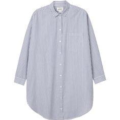 Monki Hanna shirt (335 DKK) ❤ liked on Polyvore featuring tops, shirts, blouses, sleek stripes, monki, striped top, stripe shirt, shirts & tops and striped shirt