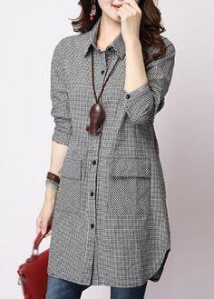Plaid Print Turndown Collar Long Shirt | lulugal.com - USD $24.49