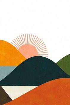 Design Poster Black And White Etsy Trendy Ideas Small Canvas Art, Diy Canvas Art, Minimalist Painting, Landscape Art, Vintage Landscape, Landscape Paintings, Landscape Design, Green Landscape, Landscape Prints