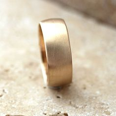Wide Gold Wedding Ring, 8mm Low Dome Men's Wedding Band 10k Recycled Yellow Gold Wedding Jewelry - Made in Your Size
