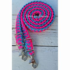 Hot Pink, Turquoise & Cotton Candy Adjustable Riding Reins