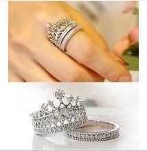 2015 nuevo estilo de la joyería elegante cristal austriaco anillos corona de brillantes diamantes CZ linda del partido de compromiso anillos caliente(China (Mainland))