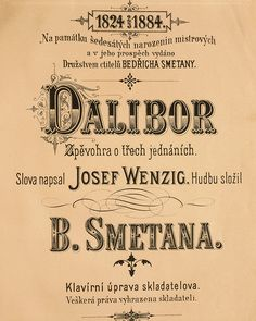 The title page of 'Dalibor' by Bedrich Smetana from the Czech Republic in the 19th Century.