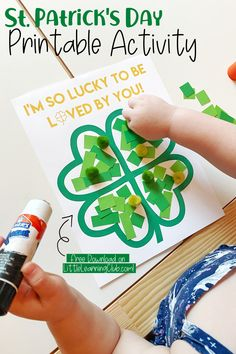 """Lucky To Be Loved By You"" St. Patrick's Day Printable - Little Learning Club March Crafts, St Patrick's Day Crafts, Daycare Crafts, Classroom Crafts, Toddler Crafts, Toddler Activities, Preschool Activities, Classroom Fun, Saint Patricks Day Art"