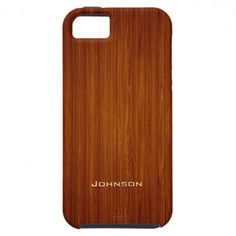 Classic Brushed Wood Plank with Custom Name iPhone 5 Cases