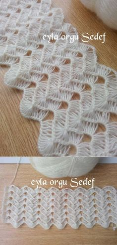 Pretty stitch for a stole, wrap or a shawl! -Lee Ann H Ripple stitch + broomstick lace (sort of), very nice for shawls, etc.: photo from a Russian site; and here is a Turkish video that provides good demo instruction even if you don't understand what the lady says (I watched and just turned the sound off): https://www.facebook.com/photo.php?v=481263528674909