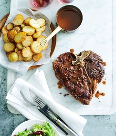 Australian Gourmet Traveller fast recipe for grilled pepper steak with fried garlic potatoes.