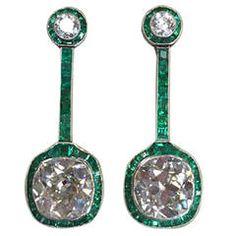 Art Deco Emerald Diamond Platinum Drop Earrings