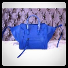 Celine Phantom Electric Blue Bag Electric Blue ! Super hard color to find! Got this bag several years back. Made in Italy, code inside with serial numbers ( can email if needed ) I don't like to post that stuff so people don't steal images! Comes with Celine dust bag Celine Bags Totes
