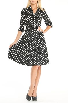 Anne Klein Rachel Dress In Black & Ivory - Great for work