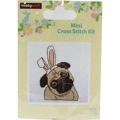 Easter Pug Mini Cross Stitch 7.6 X 7.6 Cm | Hobbycraft