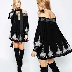 Gender: Women Waistline: Empire Decoration: Embroidery Sleeve Style: Off the Shoulder Pattern Type: Solid Style: Bohemian Material: Cotton Season: Autumn Dresses Length: Ankle-Length Neckline: Straple