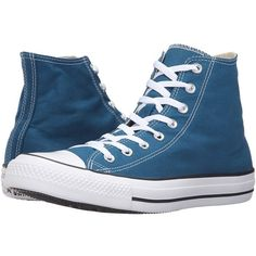 Converse Chuck Taylor All Star Seasonal Color Hi (Blue Lagoon) Lace up... ($60) ❤ liked on Polyvore featuring shoes, sneakers, converse shoes, metallic sneakers, metallic high top sneakers, blue high tops and converse high tops