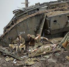 WW1 TANK DIORAMA Tamiya Model Kits, Tamiya Models, Military Diorama, Military Art, Ww1 Tanks, Landscape Model, Military Action Figures, Model Hobbies, Model Tanks