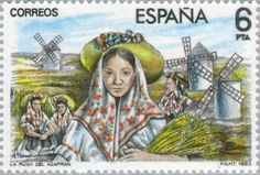 """La Rosa del Azafran"" (The Saffron Flower ) by Jacinto Guerrero (Master of the 'Zarzuela') , (Operetta - Zarzuela) . Saffron Flower, Postage Stamp Art, Vintage Stamps, Le Moulin, Culture, Windmills, Gallery, Masters, Painting"