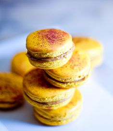 """Salted-Caramel Macarons...these would be so good.  Salted Caramel is the new """"thing"""" and it makes an amazing starbucks drink...next time you go to Starbucks ask for a """"salted caramel white chocolate frappucino""""  Its NOT on the menu - it's my creation!"""